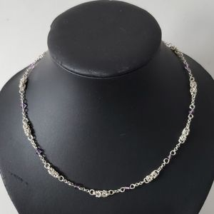 Sterling silver necklace with purple beads